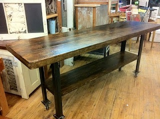 Beautiful Long Table Of Old Wood And Metal. I Have Such An Attraction To  Metal
