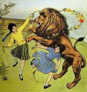 """From """"The Lion, the Witch, and the Wardrobe"""" by C.S. Lewis, illustrated by Pauline Baynes. Aslan with Susan and Lucy."""