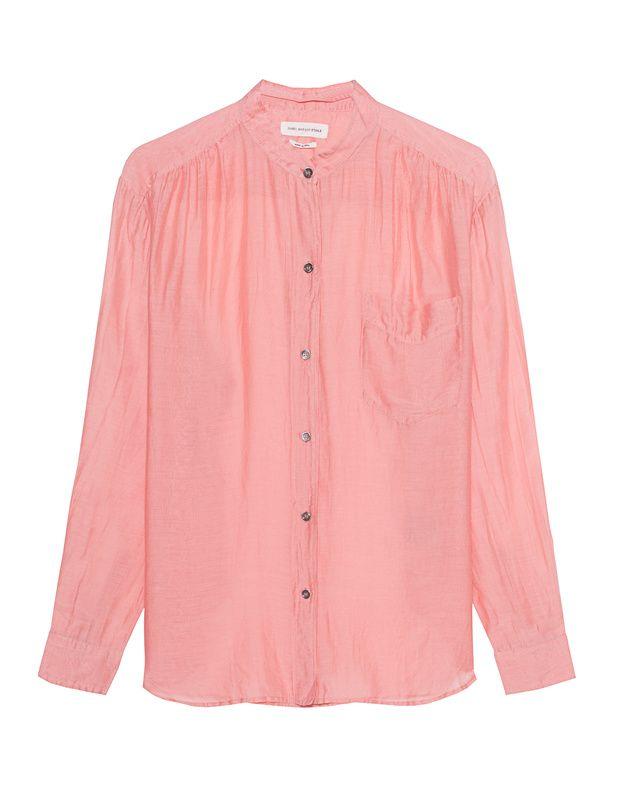 Baumwoll-Seiden-Mix Bluse Pinke Bluse im luftigen Schnitt aus einem hochwertigen Baumwoll-Seiden-Mix mit leichtem Glanz, aufgesetzter Brusttasche und femininen Zierfalten.  Super vielseitig und perfekt für lässig-elegante Styles!