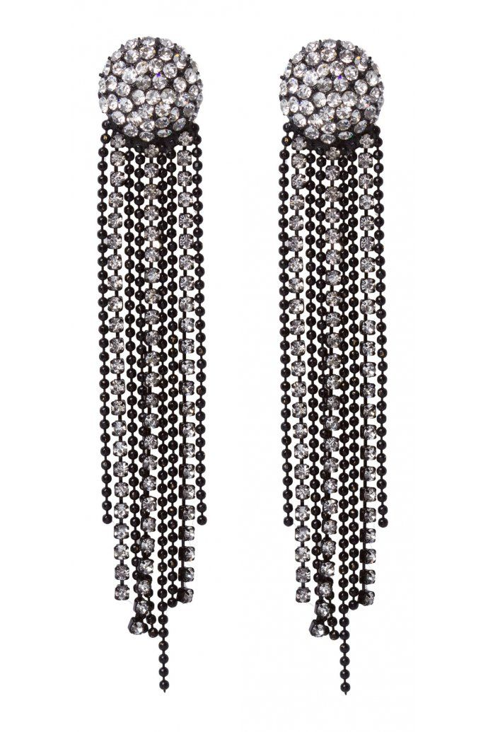 Pave Stud And Hanging Chain Earrings $14.95