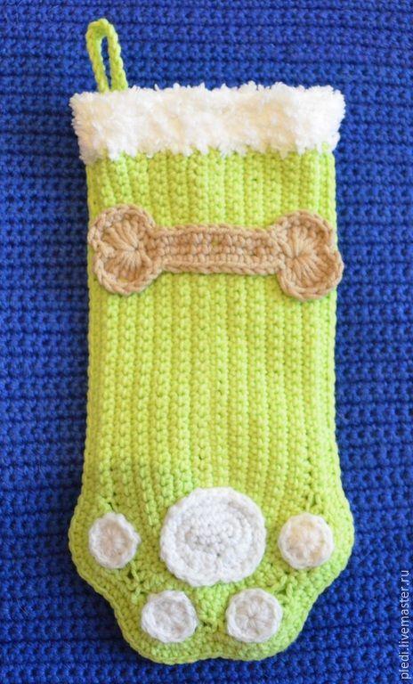 Купить Рождественский носок для домашнего любимца - салатовый, носок, носок для подарков, рождественский, рождественский сапожок