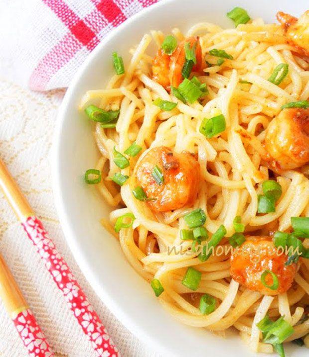 Spicy Shrimp Noodles Recipe - RecipeChart.com