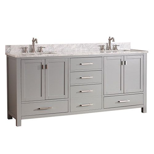 Uptown Chilled Gray 72 Inch Double Vanity Combo With White Carrera Marble Top 251 First Va