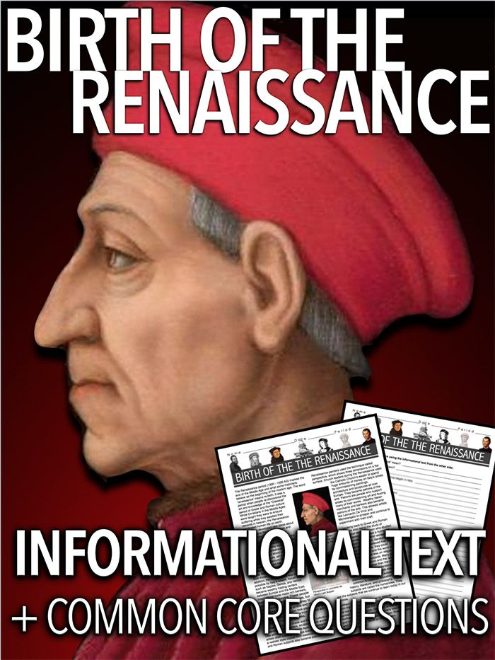 Birth of the Renaissance Informational Text takes students to Italy in the early 1300s. Students learn the reasons for the Renaissance's beginning in Italy. Text includes information about the art and perspective, the Medicis, humanism and humanities. This is a one page document accompanied by 13 questions on the reverse side and a key. This short reading can be used in class or as homework as it's a completely stand alone assignment. Excellent sub plans too.