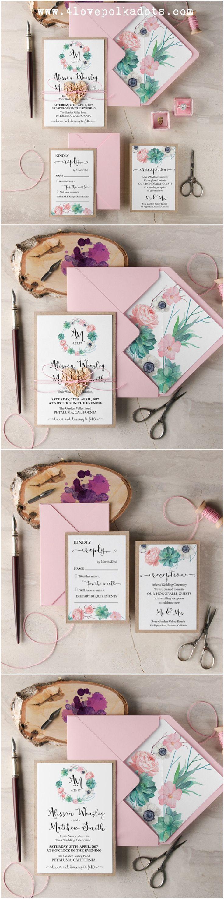 Succulent Wedding Invitations   Blush U0026 Eco With Birch Bark Heart Tag