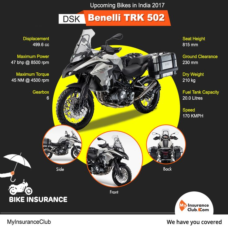 DSK Benelli TRK 502 is the new upcoming bike in India:2017 Price will be approx Rs 5 lakhs(may vary) with some cool features. Stay safe & get bike insurance premiums online>> http://m-ic.in/2jnRVqQ #BikeInsurance #DSKBenelliTRK502