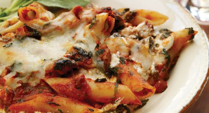 Tomato Florentine Pasta Bake.  All the flavors of Lasagna in less than half the preparation and baking time, and made with Ground Turkey and Spinach.  Serve it with crusty sourdough rolls and a tossed green salad.