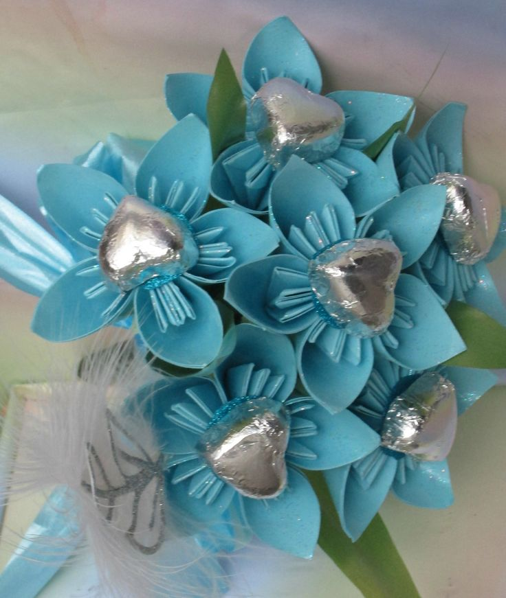 baby blue paper sweet bouquet with chocolate heart  centre