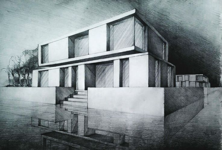 Pencil sketch of a modern house, made on 70 cm x 50 cm paper