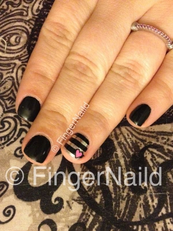 Black Valentines Striped Nail Art