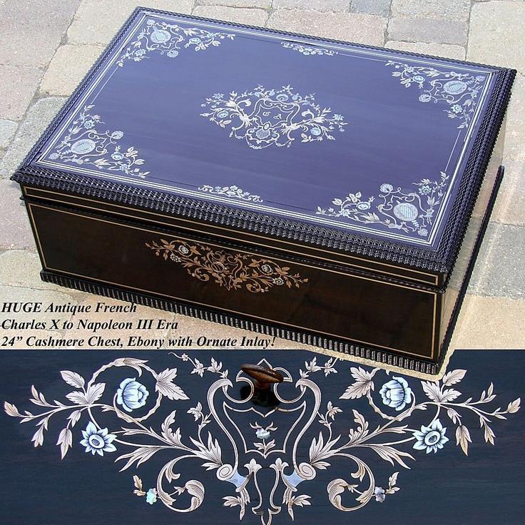 24 39 antique french cashmere chest ebony boulle style for Bat box obi