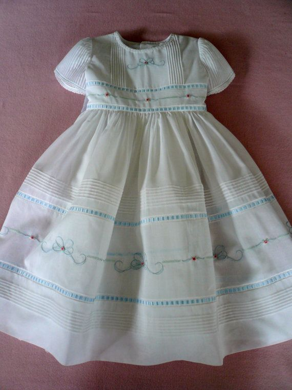 Embroidered Swiss Voile Pin Tuck Dress/White with Blue Trim and White Laces
