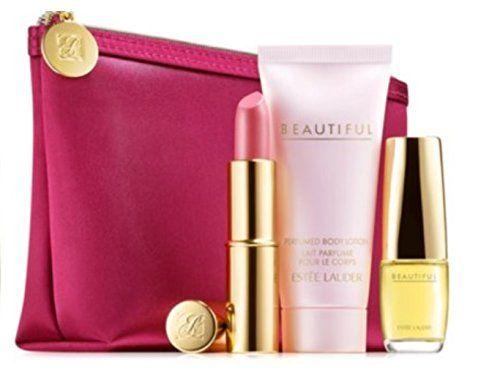 Estee Lauder Beautiful Fragrance 4 Pcs Gift Set - Beautiful Eau De Parfume Purse Spray (.16 Oz.)  Body Lotion (1 Oz.)   Pure Color Long Lasting Lipstick in Pink Parfait (.13 Oz.)   Cosmetics Bag