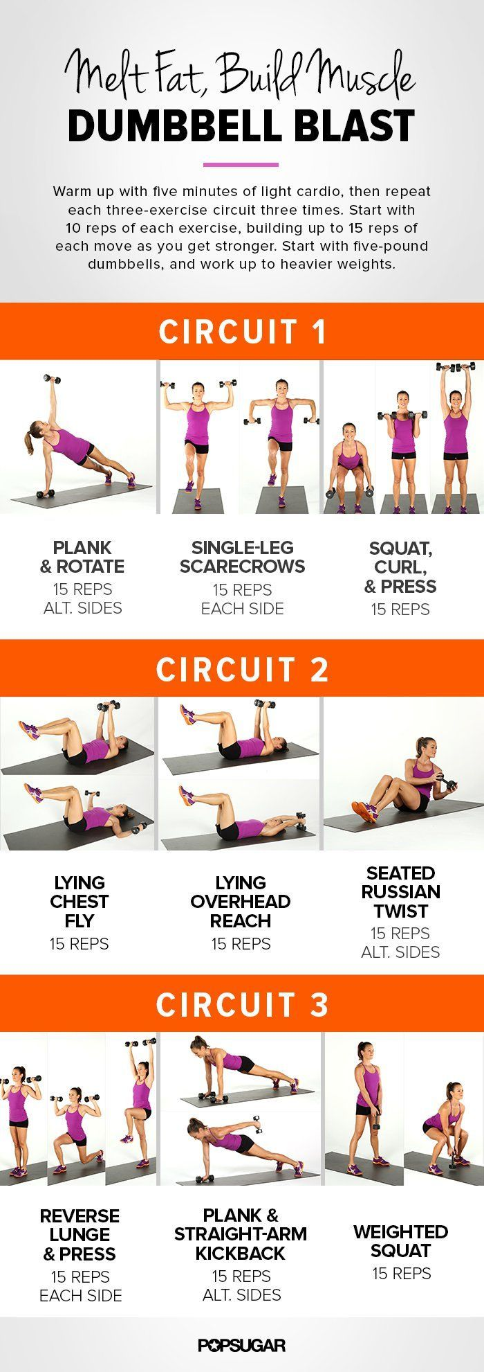 Add some dumbbells to your fitness routine and build some metabolism-boosting muscle while toning your entire body. We leave no muscle untouched with this