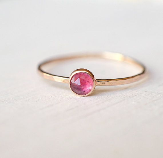 14k Rose Cut Pink Tourmaline Ring