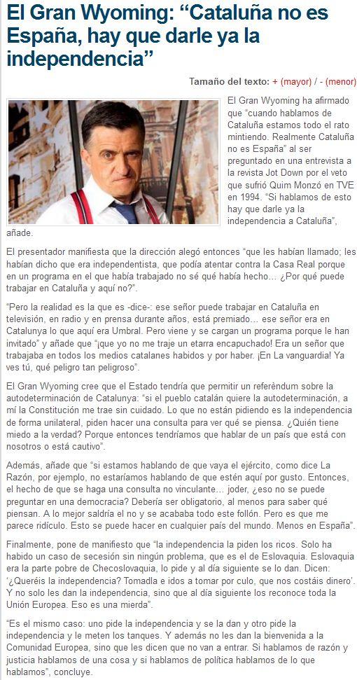 """Catalunya: El Gran Wyoming: """"Cataluña no es España, hay que d..."""