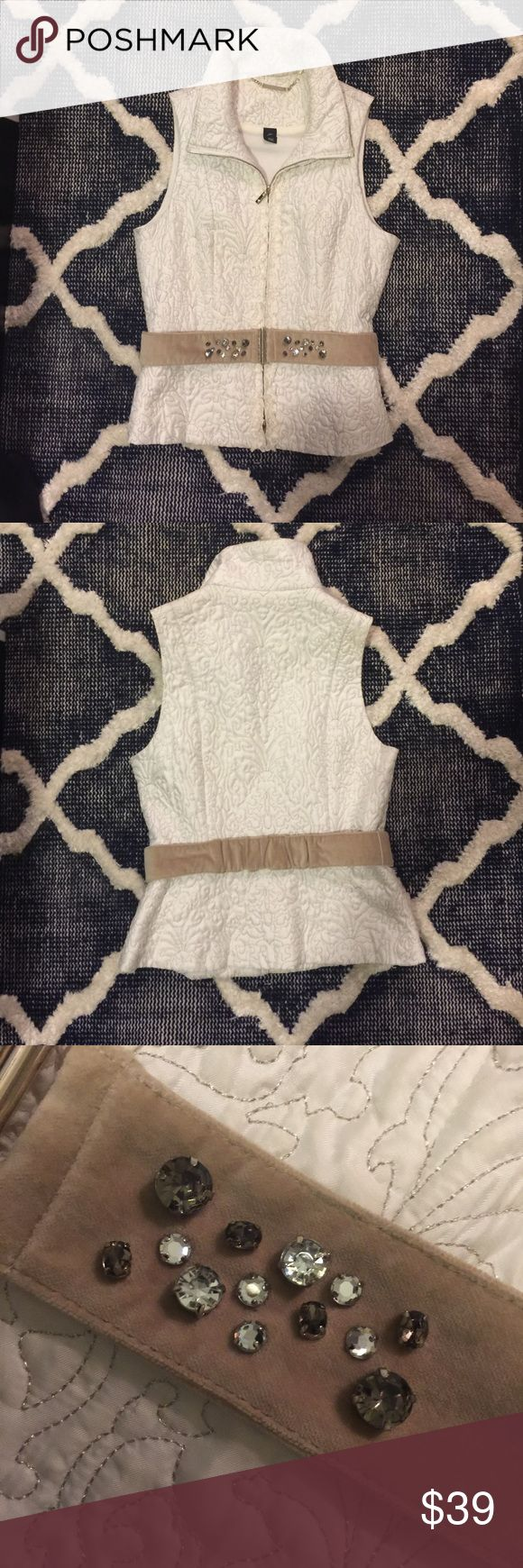WHBM cream vest WHBM cream embroidered vest with detachable suede-like rhinestone belt. Pre-loved item with no noticeable signs of wear. White House Black Market Jackets & Coats Vests