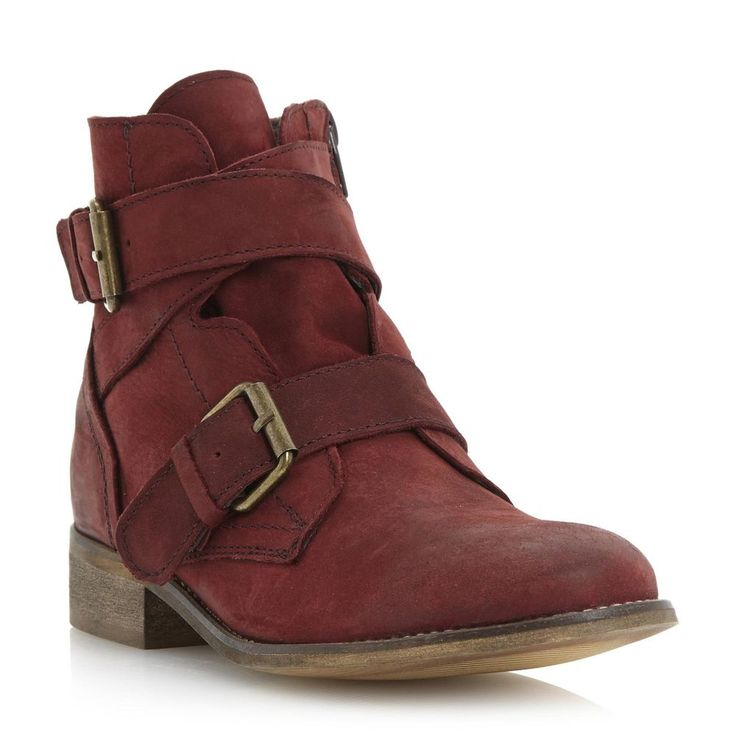 Steve Madden Ladies TERITORY Double Buckle Leather Ankle Boot Burgundy 3