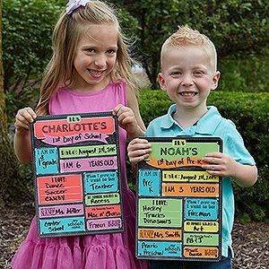 LOVE this Personalized First Day Of School Dry Erase Sign! Choose from 2 colors and add their name so they can fill out all the fun questions and use it year after year for their first day of school photos!