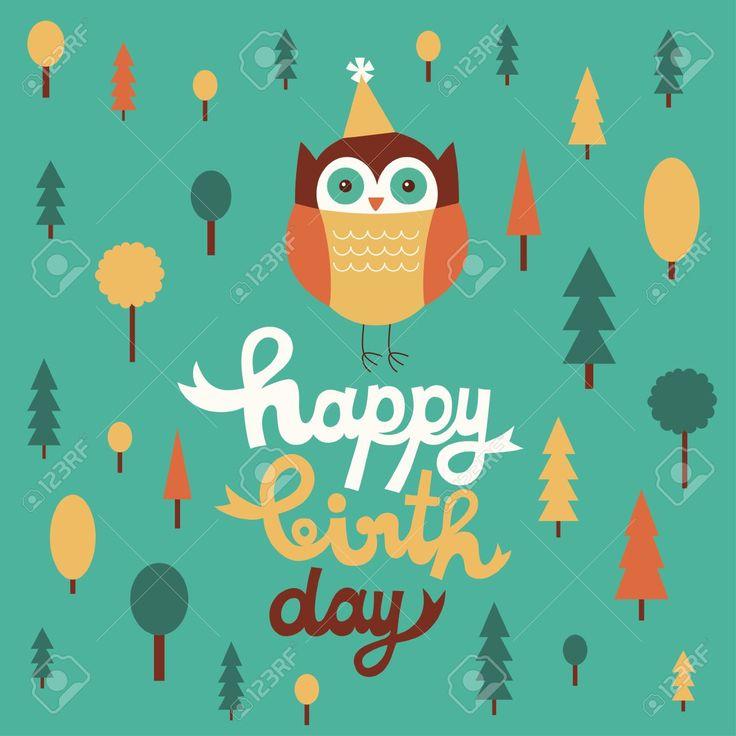 счастливы дизайн сова открытка на день рождения. Клипарты, векторы, и Набор Иллюстраций Без Оплаты Отчислений. Image 20633105.