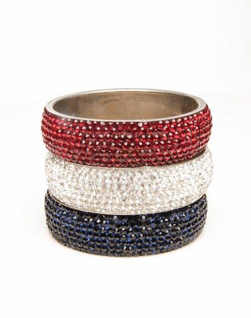 Freedom accessory! Three wide Aura bangles. One each, Ruby Red, White Diamond and Blue. www.hamptonbanglecompany.com #bangle #jewelry #accessory #girl #sexy #fashion #stackable #bracelet  #imaginehappy