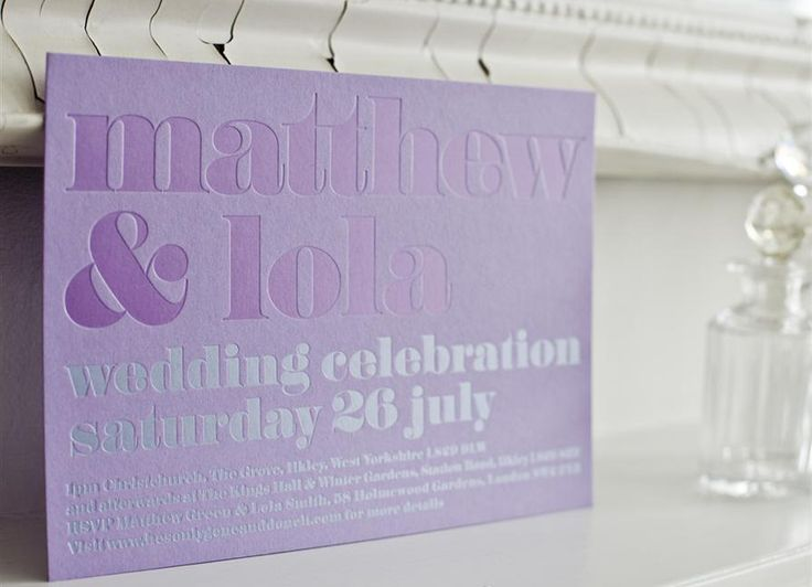 Lilac Wedding Stationery With Bold Indented Typography