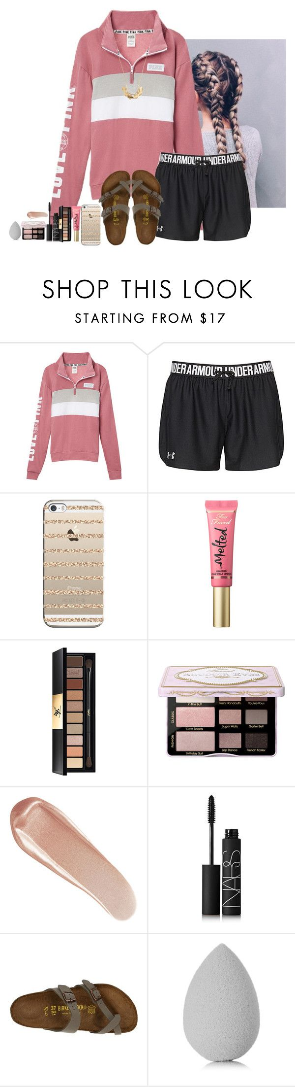 """I ❤️  YOU!!!!!"" by amaya-leigh ❤ liked on Polyvore featuring Under Armour, Casetify, Too Faced Cosmetics, Yves Saint Laurent, NARS Cosmetics, Birkenstock, beautyblender and Banana Republic"