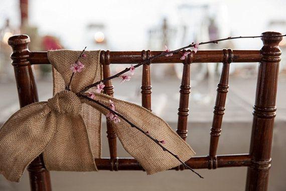 Burlap Chair Sash - Rustic Wedding Decoration - Burlap Chair Swag
