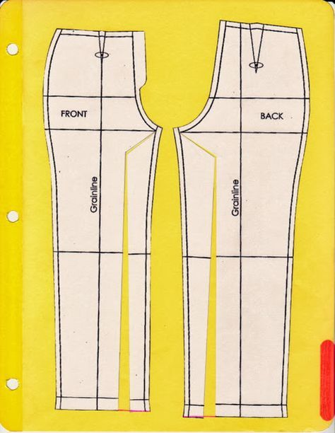 #2) If the grainlines angle in toward each other in a V, the above correction is necessary to accommodate the angle at which your legs exit your pelvis.