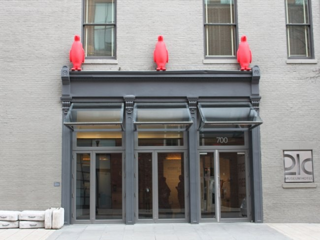 We got to check out the 21C Museum Hotel on a recent trip to Louisville. The best part? The red penguins marching around the property.