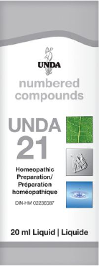 Unda 21  Degenerative Hormonal & Glandular Disorders Unda 21 is indicated for glandular degeneration of the breasts, benign nodes on the breasts, fibroma, arthrosis and lithiasis. Unda 21 is an excellent remedy for degenerative conditions, with hormonal, ovarian, and utero-ovarian impact (thyroid, breast, prostate, uterus, ovary). Its effect on the hormones makes it exceedingly important in all degenerative conditions and hormonal irregularities.