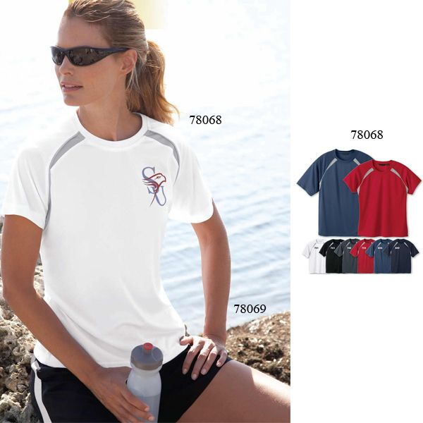 Ladies' athletic crew neck t-shirt. Moisture wicking and UV protection performance for your on-the-go needs.