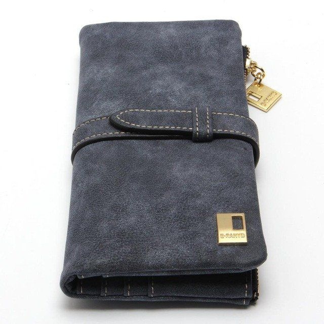 New Fashion Women Wallet Drawstring Nubuck Leather Zipper Wallet Long Design Purse