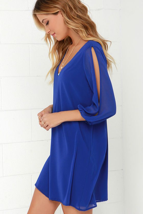 Shifting Dears Royal Blue Long Sleeve Dress at Lulus.com!