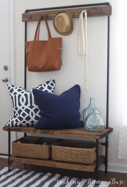 west elm knock off industrial entryway stand, diy, foyer, organizing, repurposing upcycling, wall decor, woodworking projects