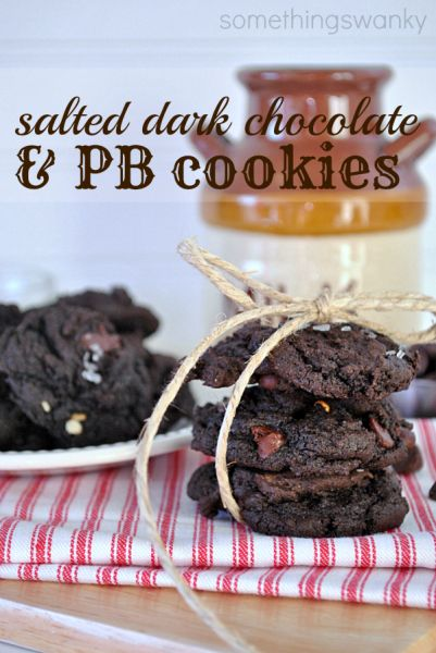 Salted Dark Chocolate & Peanut Butter Cookies from Something Swanky @ www.SomewhatSimple.com #cookies #darkchocolate