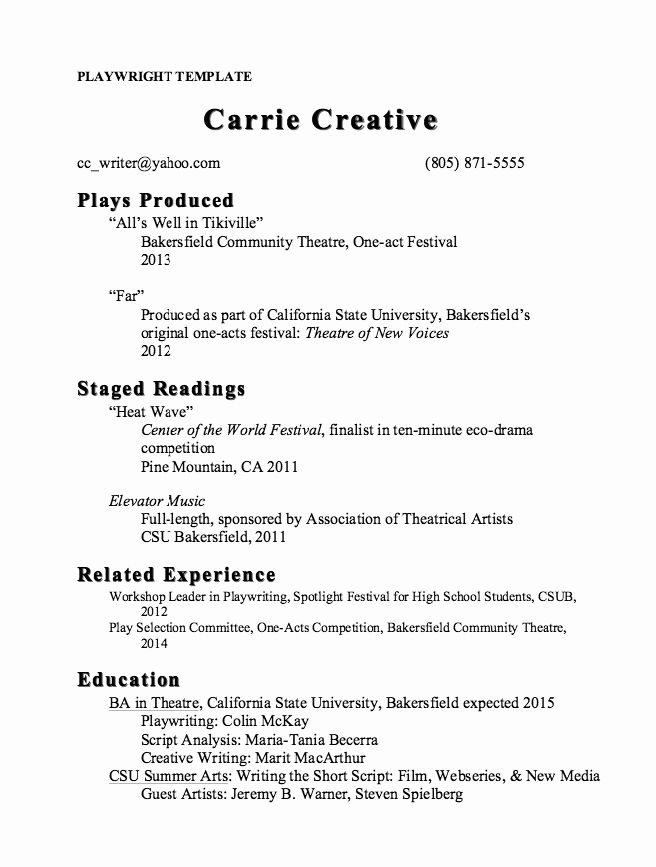 Stage Play Format Template Beautiful Pin By Ririn Nazza On Free Resume Sample Creative Resume Templates Resume Template Cv Template