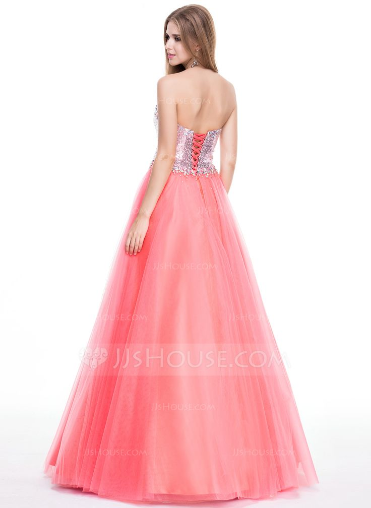 Ball-Gown Sweetheart Floor-Length Beading Lace Up Strapless Sleeveless No Watermelon Winter Spring Summer Fall General Plus Tulle Sequined Prom Dress