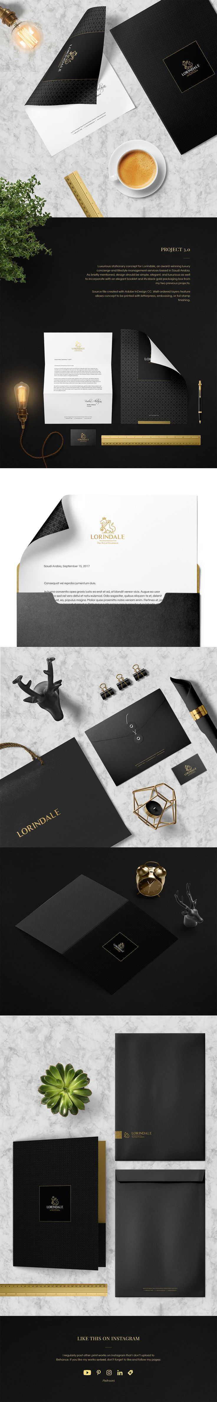Luxurious stationary concept for Lorindale, an award-winning luxury concierge and lifestyle management services based in Saudi Arabia. #agency #branding #concierge #consultant #elegant #gold #identity #layout #luxury #stationary