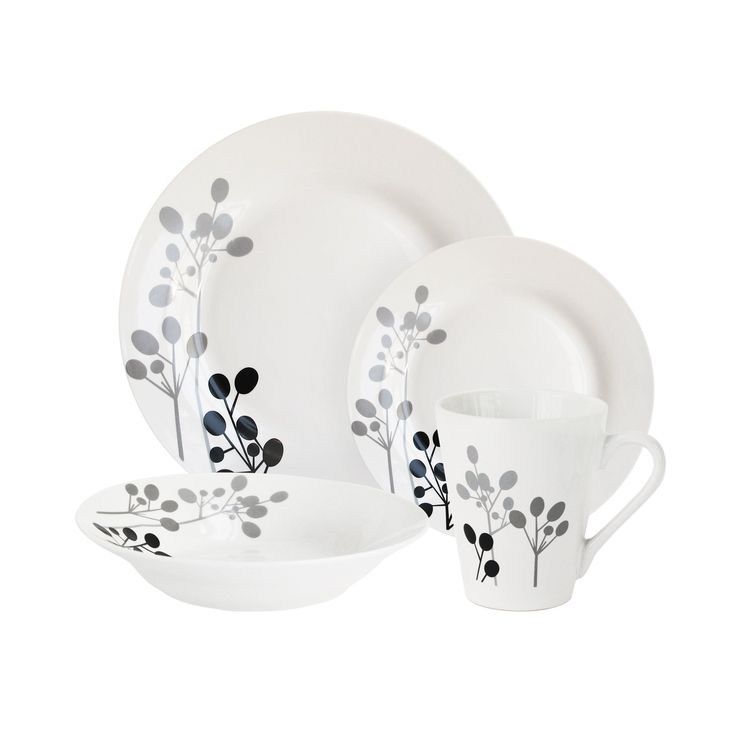 16-Piece Black Floral White Dinnerware Set