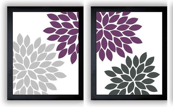 Grey Gray Purple Plum Flower Print Chrysanthemum Flowers Set of 2 Art Print Wall    This is for a set of 2 prints available in your choice of 4 x