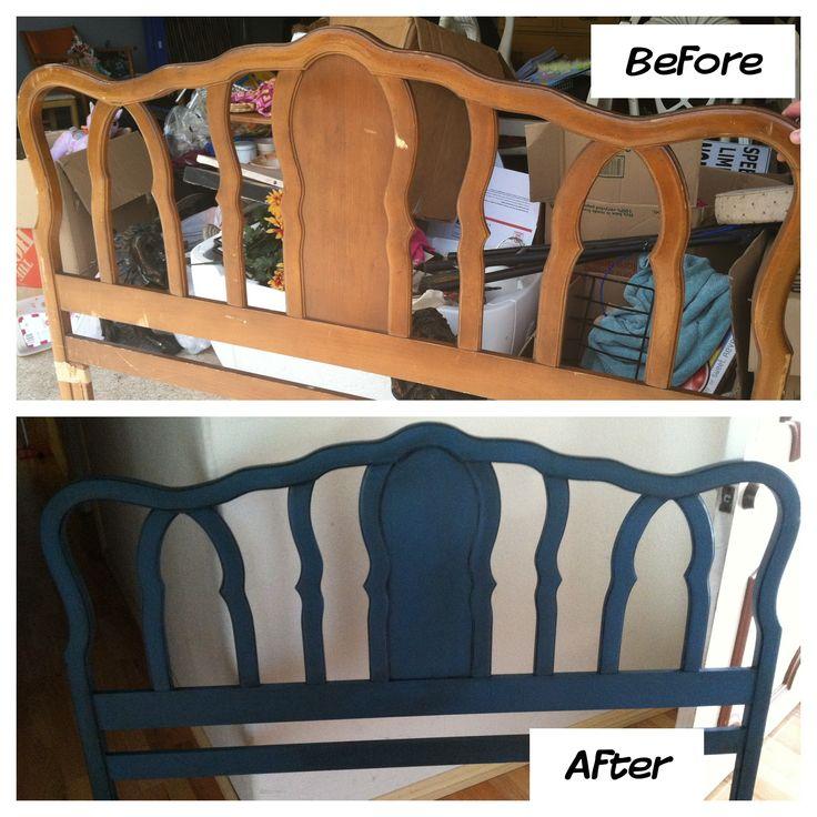 ASCP Annie Sloan chalk paint - Aubusson Blue - furniture - headboard -  Check me out on Facebook: www.facebook.com/desiludesignsfanpage