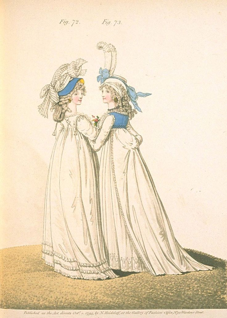 Gallery of fashion October 1795 - Vauxhall evening dresses