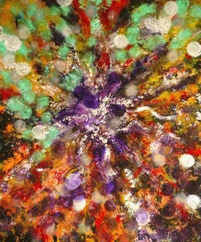 """Orbs"", Pati Parvati Becker - Acrylic on canvas; Intuitive art, abstract art."