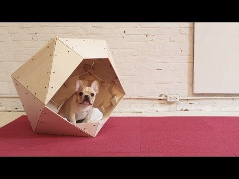 "Ben Uyeda and and his dog Fletcher demonstrate how to make a geometric doghouse. You'll need ¼"" plywood, a few 2x3s, wood screws, a circular saw and a cordless drill."