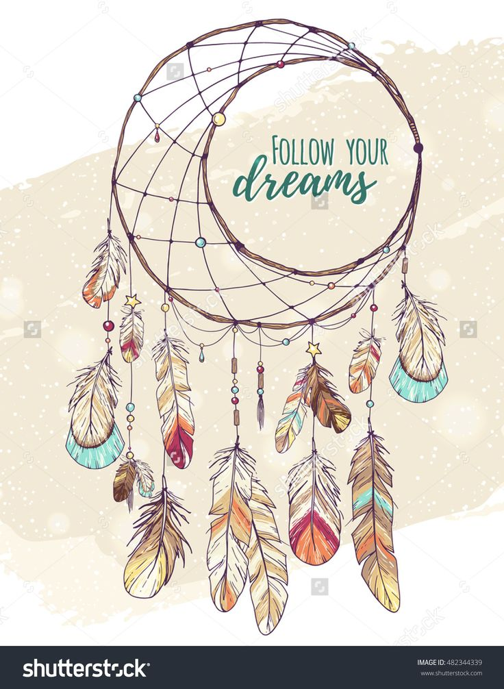 bohemian ethnic dream catcher with feathers and decor; colorful american Indian hand drawn vector illustration in sketch style; boho chic, hipster design