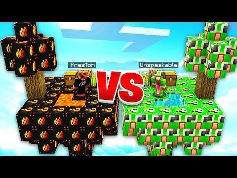 PRESTONPLAYZ vs UNSPEAKABLEGAMING LUCKY BLOCKS! - 1v1