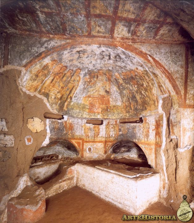 In this picture we can see the apse area of the crypt of the millers, located in the Catacombs of Domitilla. In decorating observe scenes that illustrate some of the activities of those in the grave. In an important place in the apse were carried Christological content representations.