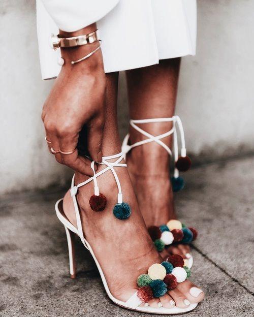 pom pom strappy heels