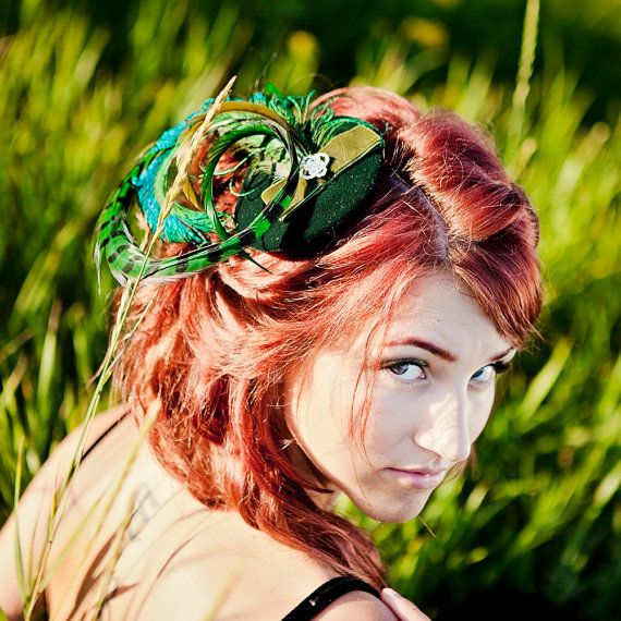 Green Velvet Feather Fascinator by ChantillyLaceDesigns created in Edmonton